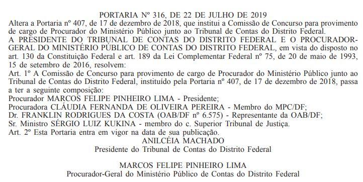 Concurso TCDF: portaria publicada no Diário Oficial do Distrito Federal.