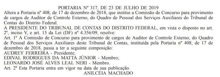 Concurso TCDF: comissão de concurso para o cargo de Auditor de Controle Externo.