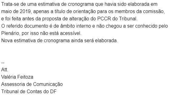 Concurso TCDF: nota da Assessoria de Imprensa do TCDF.