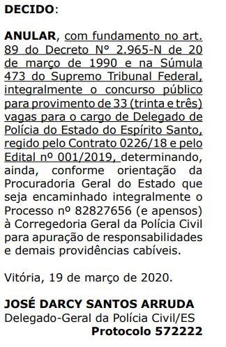 Documento informando a anulação do concurso Delegado PC ES.