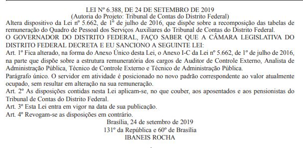 Concurso TCDF: Lei publicada no Diário Oficial do Distrito Federal.