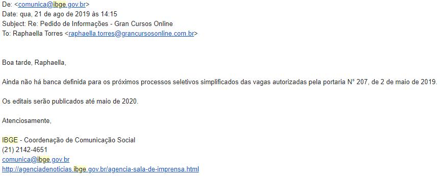 Edital IBGE: resposta da assessoria em relação às publicações dos editais.