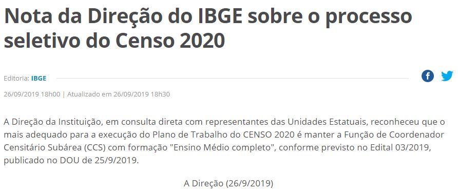 Edital IBGE: Nota divulgada no site do IBGE