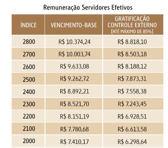 Concurso TCE RJ: remuneração servidores efetivos.