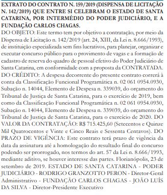 Concurso TJ SC: Extrato do contrato.