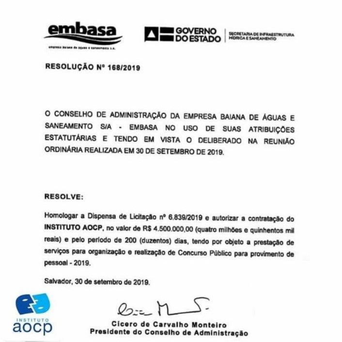 Concurso Embasa: define a empresa organizadora.