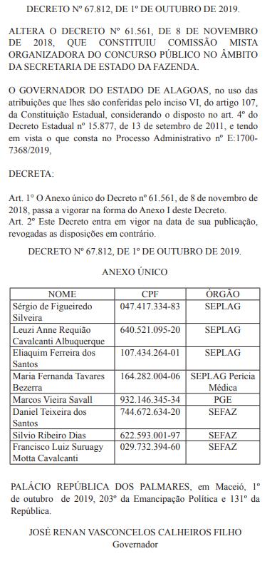 Concurso SEFAZ AL: alterações na comissão organizadora do certame.