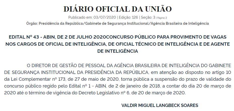 Documento publicado no Diário Oficial da União informando que o prazo de validade do concurso Abin está suspenso