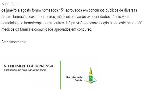 <strong>Concurso SES DF:</strong> nota da Assessoria de imprensa.