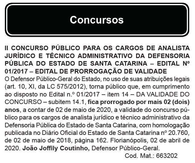 Concurso DPE SC: prorrogado!
