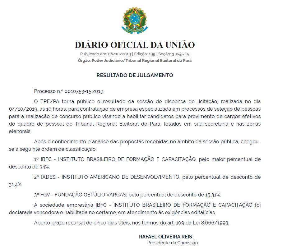 Concurso TRE PA: banca definida!