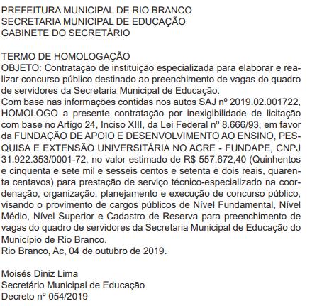 Concurso SEME Rio Branco AC