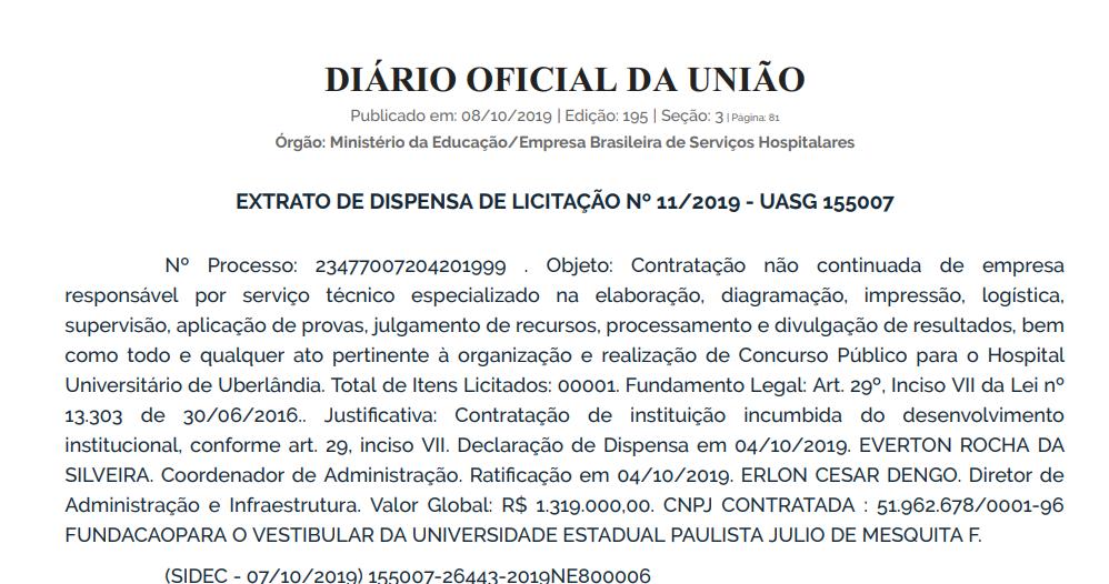 Concurso EBSERH UFU: extrato de dispensa de licitação