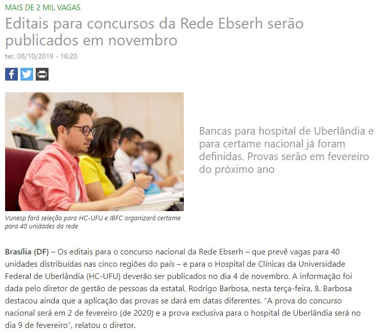 Concurso EBSERH: nota publicada