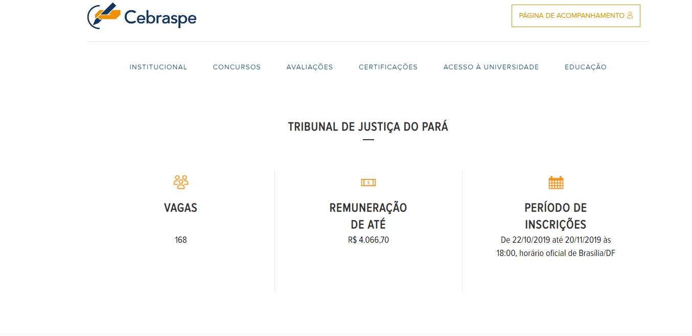 Concurso TJ PA: site do Cebraspe onde será publicado o edital.