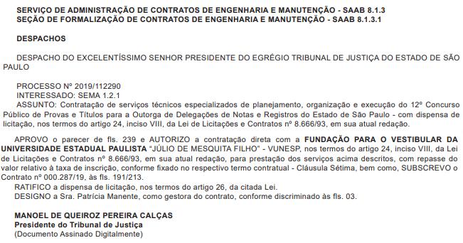 Concurso TJ SP Cartórios: despacho para contratação da banca.