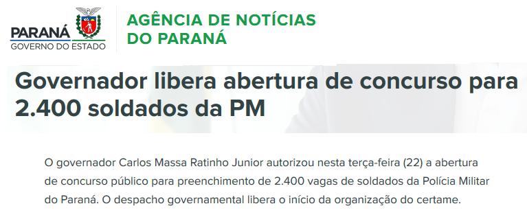 Concurso PM PR: autorização.