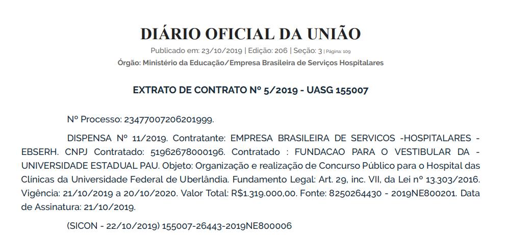 Concurso EBSERH UFU: extrato de contrato