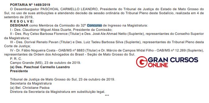 concurso TJMS Juiz comissao alterada