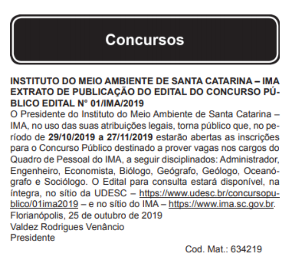 Concurso IMA SC: extrato de edital!