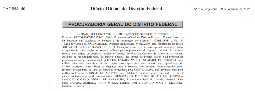 Concurso PGDF: extrato de contrato!