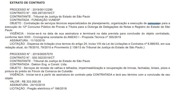 concurso tj sp cartórios: contrato com a empresa escolhida.