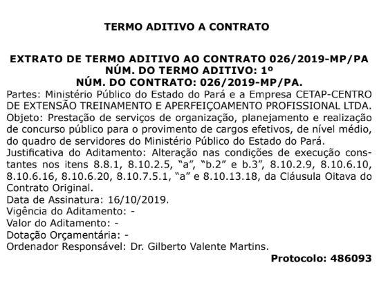 <strong>Concurso MP PA:</strong> Extrato de Termo Aditivo ao Contrato.