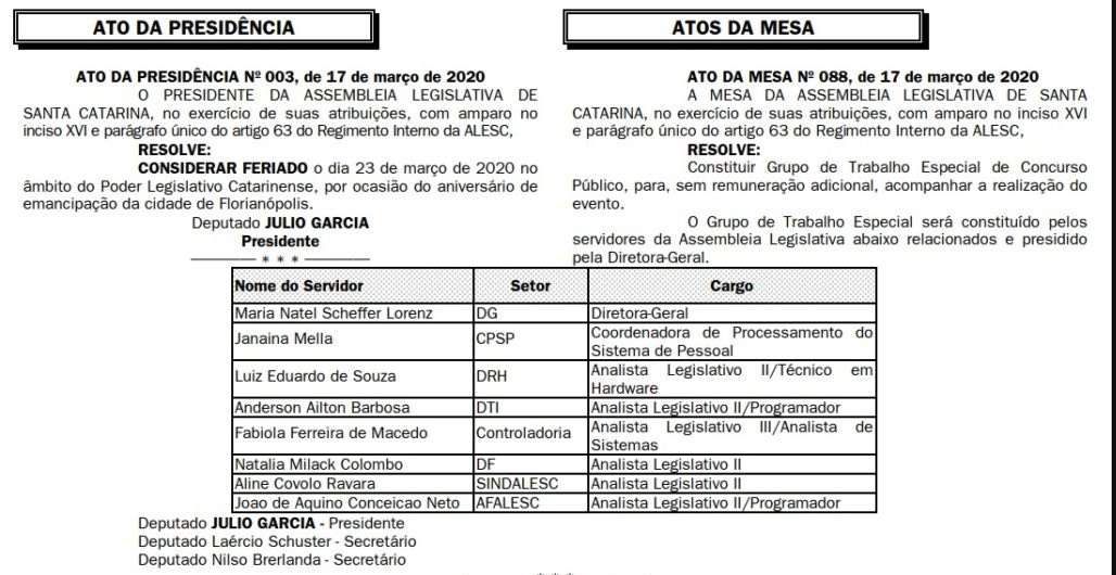 Ato da Presidência vs Ato da Mesa para Concurso ALESC