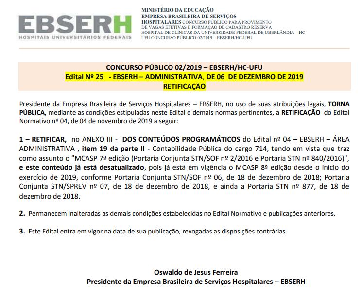 Concurso EBSERH UFU: Edital retificado