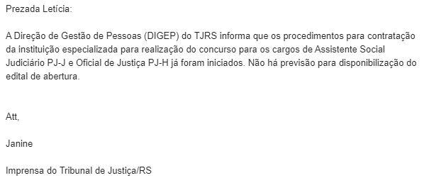 Concurso TJ RS: nota da Assessoria de Imprensa.