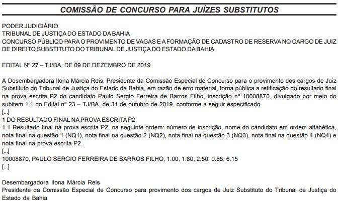 Concurso TJ BA Juiz Leigo e Conciliador: documento publicado no Diário de Justiça