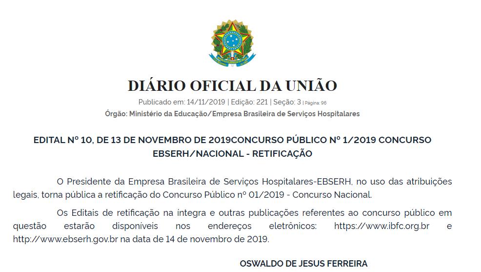 CONCURSO EBSERH EDITAL RETIFICADO