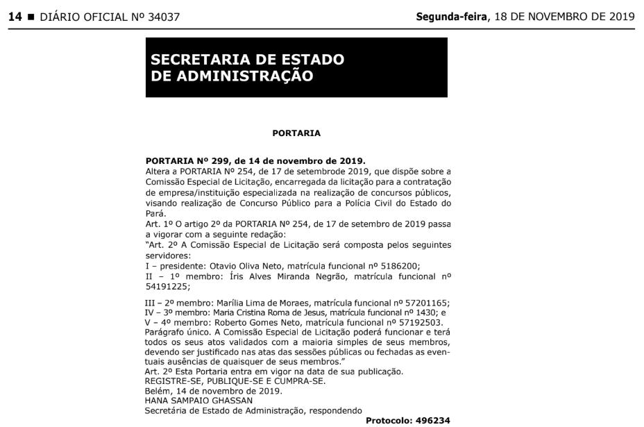 Concurso PC PA: Comissão Especial de Licitação