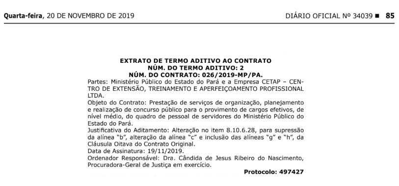 Concurso MP PA: Extrato Aditivo publicado no Diário Oficial do Estado.