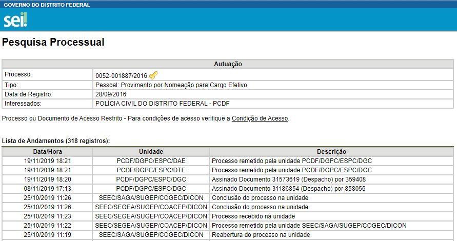 Concurso PCDF Agente: registra novas movimentações.
