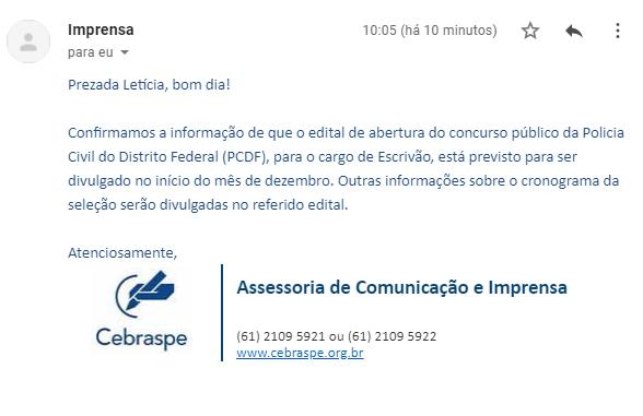 Edital PCDF: nota do Cebraspe enviada à Equipe de Comunicação do Gran Cursos Online.