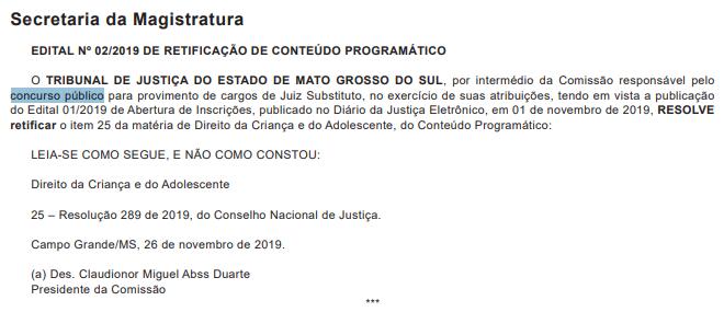 Edital TJMS Juiz: retificação.