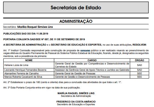 Concurso SEE PE: nomeação da comissão organizadora