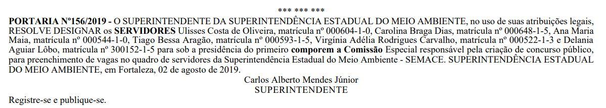 Concurso Semace: Comissão formada.