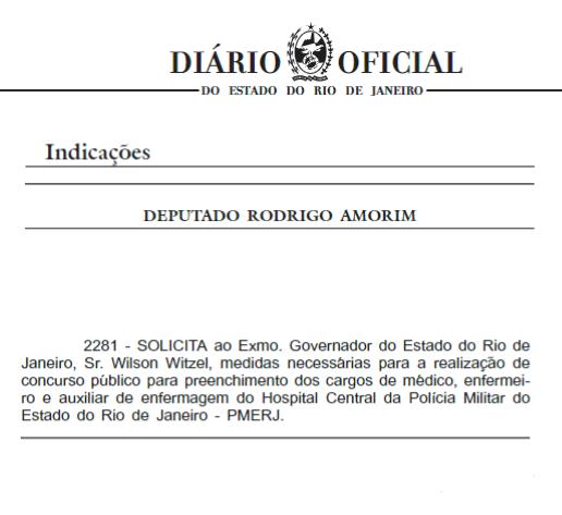 Concurso PMERJ Saúde: deputado reforça pedido de concurso para a corporação.