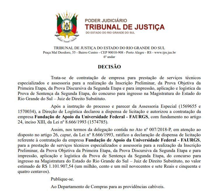Concurso TJ RS Juiz: banca definida.