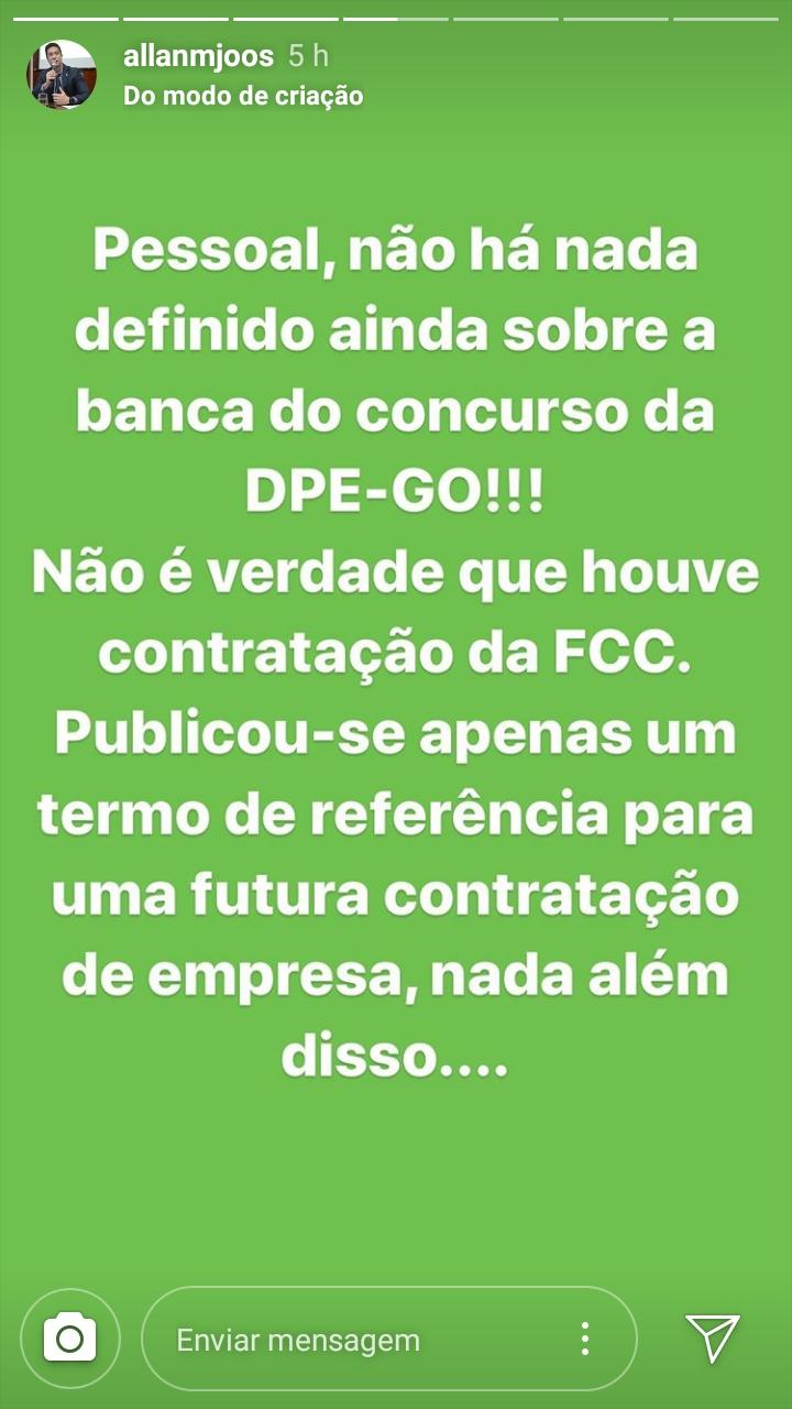 Concurso DPE: informação publicada no stories do instagram do presidente da AGDP