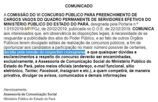 Concurso MP PA: comunicado da Comissão Organizadora.
