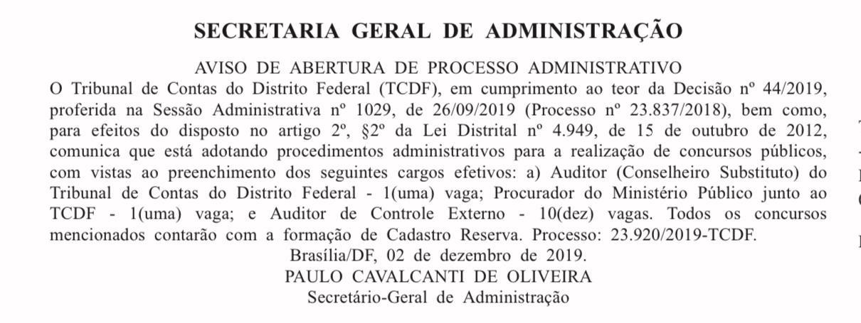 Edital TCDF: Aviso de Abertura de Processo Administrativo.