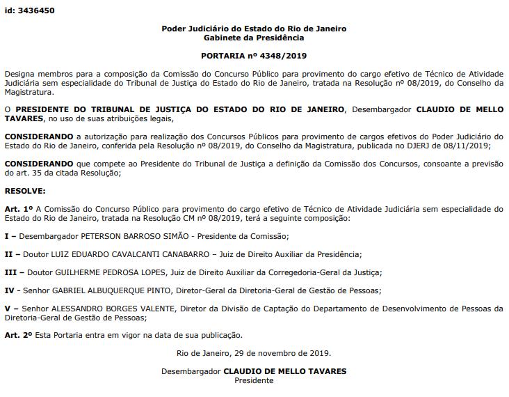 Concurso TJ RJ: Comissão formada para o cargo de Técnico de Atividade Judiciário sem especialidade.
