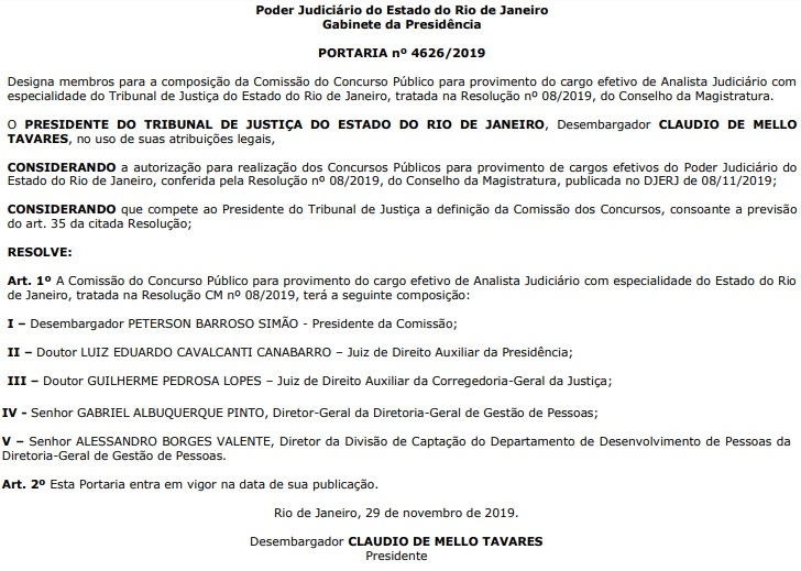 Concurso TJ RJ: Comissão formada para o cargo de Analista Judiciário com especialidade.