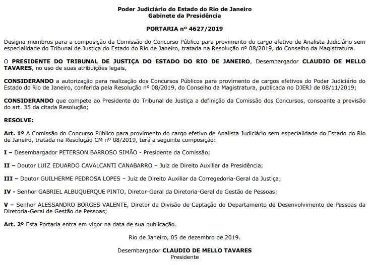 Edital TJ RJ: Comissão formada para Analista Judiciário sem especialidade.