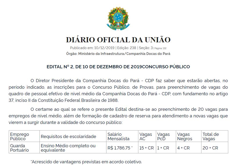 Edital CDP 2019: Extrato Diário Oficial da União