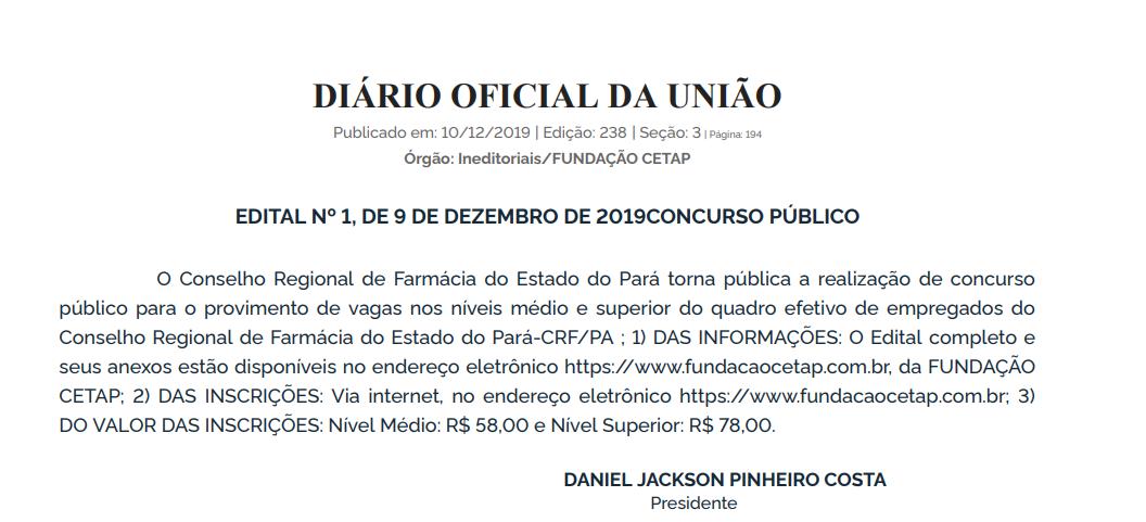Edital CRF PA: Extrato de edital no Diário Oficial da União