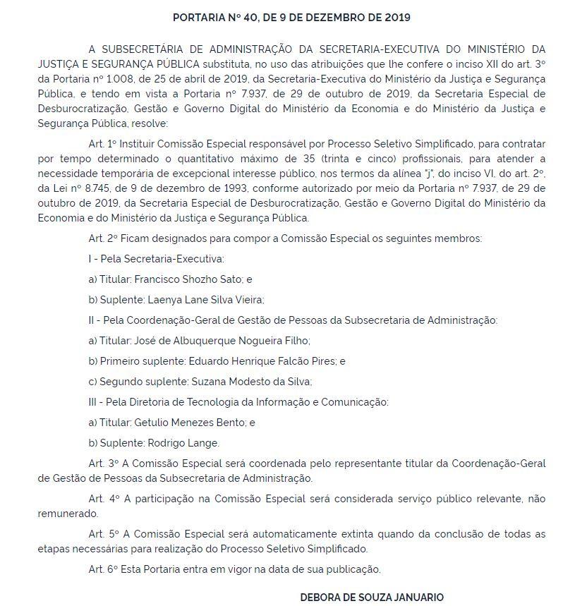 Edital Ministério da Justiça: Comissão formada.